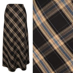 NWT DeadStock Vintage 1990s Brown Plaid Maxi Skirt